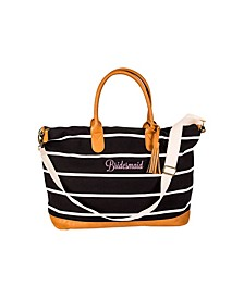 Bridesmaid Striped Weekender Tote