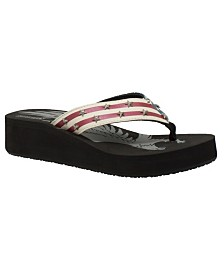 Women's US Flag Thong Sandal