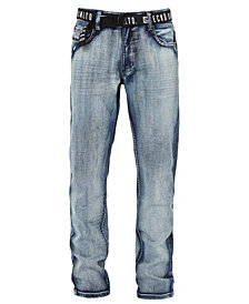 Ecko Unltd Men's Ecko Belted Straight-Fit Denim Pant