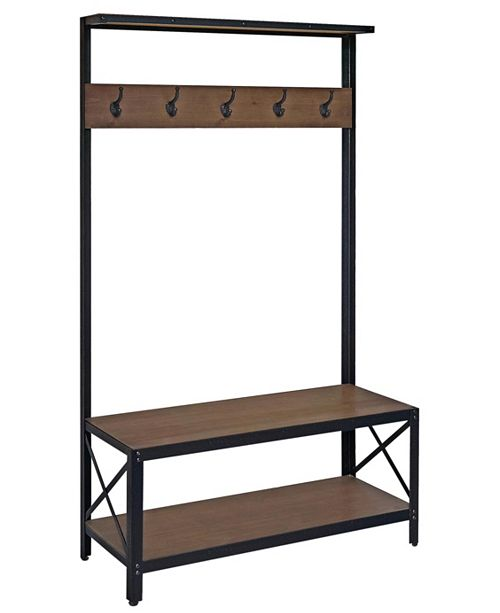 Gallerie Decor Industrial Bench and Coatrack