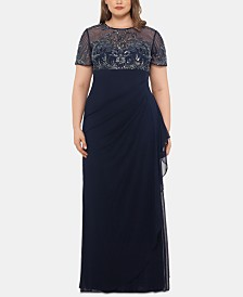 XSCAPE Plus Size Embellished Ruffled Gown
