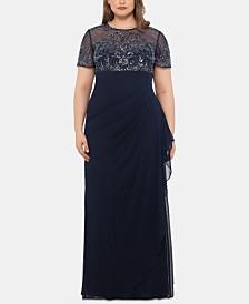 XSCAPE Plus Size Embellished Ruffled Gown