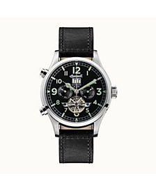 Armstrong Automatic with Stainless Steel Case, Black Dial and Black Leather Strap