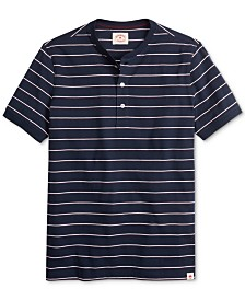 Brooks Brothers Men's Red Fleece Garment-Dyed Stripe Henley