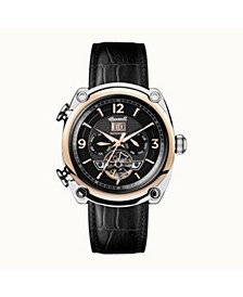 Michigan Automatic with Two-Tone Stainless Steel and Rose Gold IP Case, Black Dial and Black Croco Embossed Leather Strap