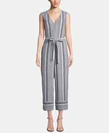 ECI Striped Tie-Waist Jumpsuit