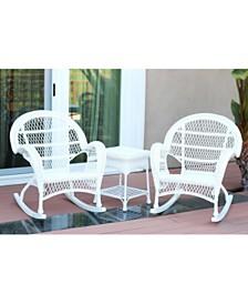 Jeco 3 Piece Santa Maria Rocker Wicker Chair Set without Cushion