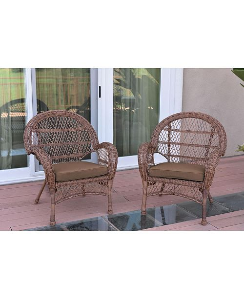 Jeco Santa Maria Wicker Chair with Cushion Set of 2