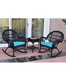 3 Piece Santa Maria Rocker Wicker Chair Set with Cushion