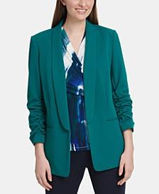 Petite Ruched-Sleeve Oversized Blazer