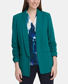 DKNY Petite Ruched-Sleeve Oversized Blazer
