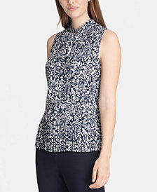 DKNY Printed Pleated Tie-Neck Top