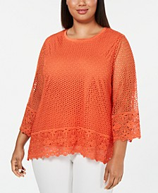 Plus Size Lake Tahoe Border Lace Top