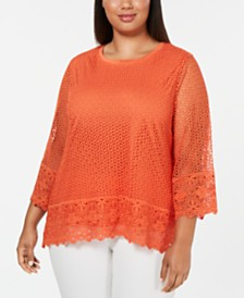 Alfred Dunner Plus Size Lake Tahoe Border Lace Top