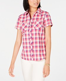Tommy Hilfiger Cotton Plaid Camp Shirt, Created for Macy's