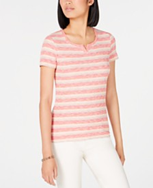 Tommy Hilfiger Striped Henley T-Shirt, Created for Macy's