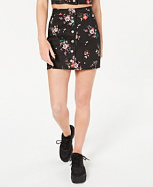 Juniors' Printed Button-Front Mini Skirt, Created for Macy's