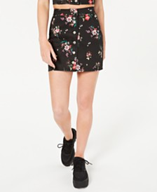 Material Girl Juniors' Printed Button-Front Mini Skirt, Created for Macy's
