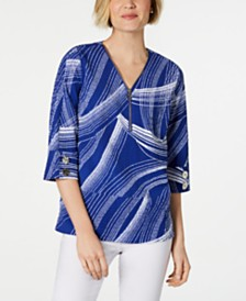 JM Collection Printed Zip-Front Crinkle Texture Top, Created for Macy's