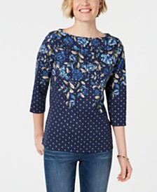 Karen Scott Floral-Print Beaded Top, Created for Macy's
