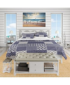 Designart 'Japanese Ocean Wave Pattern' Costal Duvet Cover Set - Queen