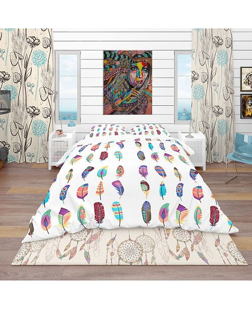 Design Art Designart 'Colored Feathers Set' Southwestern Duvet Cover Set - Twin