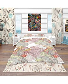 Designart 'Watercolor Painting With Ethnic Motif' Bohemian and Eclectic Duvet Cover Set - King