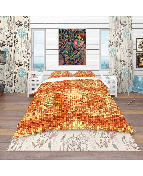 Design Art Designart 'Gold Square Abstract' Bohemian and Eclectic Duvet Cover Set - Queen