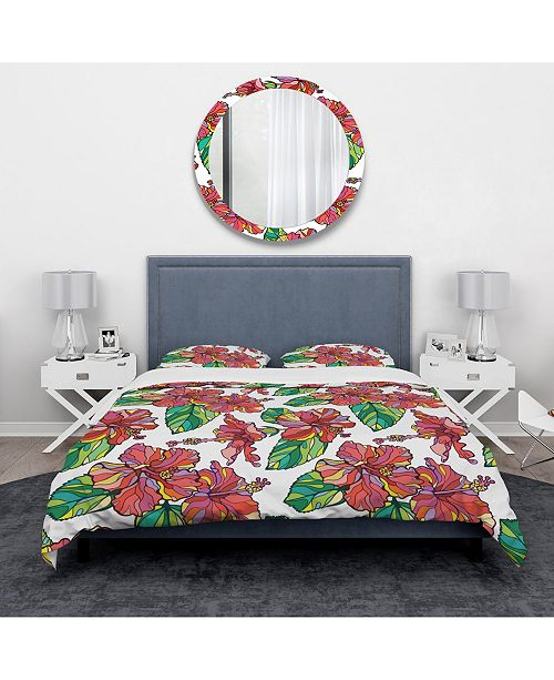Design Art Designart 'Hibiscuses Floral Pattern' Tropical Duvet Cover Set - King