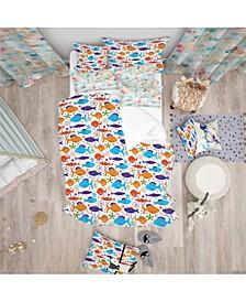 Designart 'Fish Pattern' Duvet Cover Set - Queen