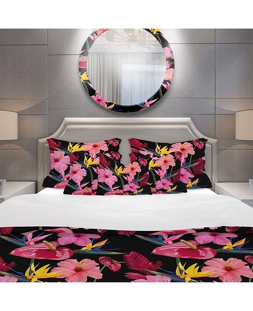 Design Art Designart 'Pattern Of Tropical Pink Flowers' Tropical Duvet Cover Set - King