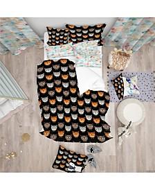 Designart 'Cute Cats Pattern' Modern Kids Duvet Cover Set - Queen