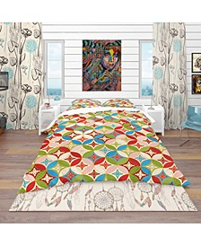 Designart 'Circles Japanese Texture' Bohemian and Eclectic Duvet Cover Set - Queen