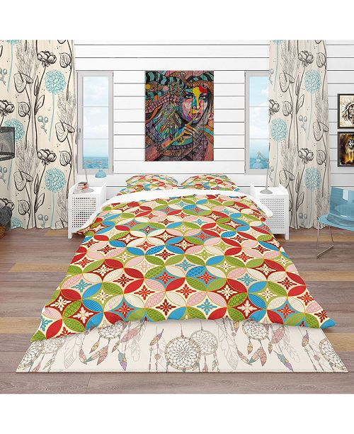 Design Art Designart 'Circles Japanese Texture' Bohemian and Eclectic Duvet Cover Set - Queen