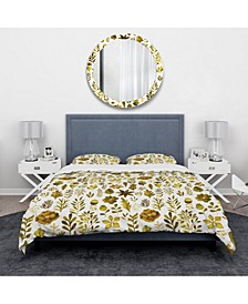 Designart 'Watercolor Texture With Flowers and Plants' Modern and Contemporary Duvet Cover Set - Queen