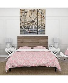 Designart 'Cute Pink Tiled Pattern' Rustic Duvet Cover Set - Queen