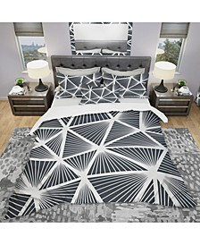 Designart 'Black and White Geometric Decorative Pattern' Modern Duvet Cover Set - Twin