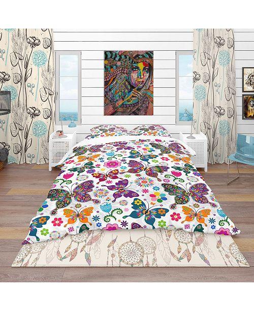 Design Art Designart 'Spring Pattern' Bohemian and Eclectic Duvet Cover Set - Queen