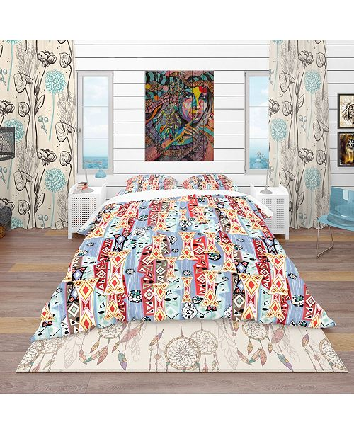 Design Art Designart 'Abstract Pattern' Modern and Contemporary Duvet Cover Set - Queen