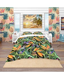Designart 'Tropical Pattern With Exotic Flowers' Tropical Duvet Cover Set