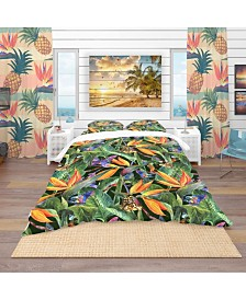 Designart 'Tropical Pattern With Exotic Flowers' Tropical Duvet Cover Set - Twin