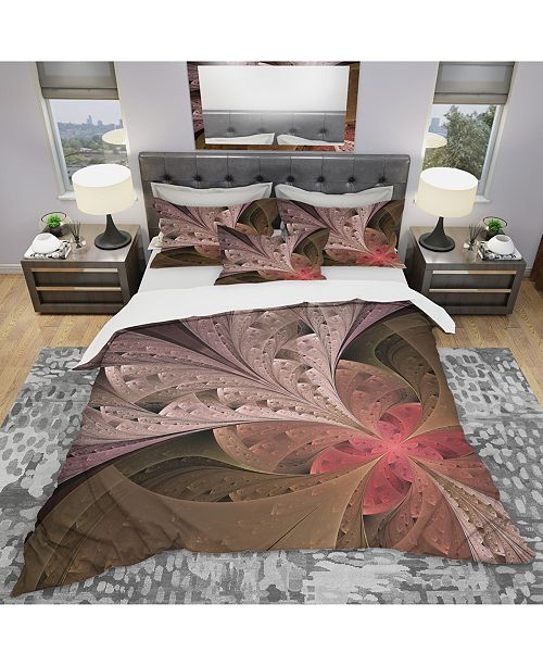 Design Art Designart 'Beautiful Fractal Flower In Beige' Modern and Contemporary Duvet Cover Set - King