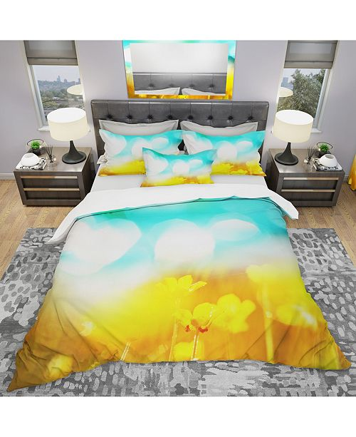Design Art Designart 'Yellow Flowers On Blue Background' Modern and Contemporary Duvet Cover Set - King