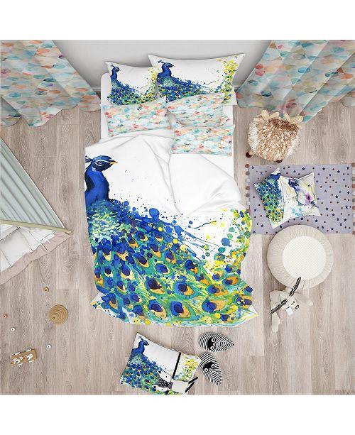 Design Art Designart 'Exotic Peacock Watercolor' Modern and Contemporary Duvet Cover Set - Twin