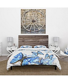 Designart 'Watercolor Butterflies On White' Cabin and Lodge Duvet Cover Set