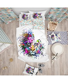 Designart 'Tiger Face In Colorful Splashes' Modern and Contemporary Duvet Cover Set - Queen