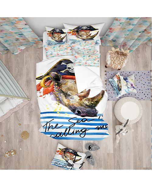 Design Art Designart 'Pirate Animal In Hat The Sea Is Calling Me' Modern Kids Duvet Cover Set - Twin