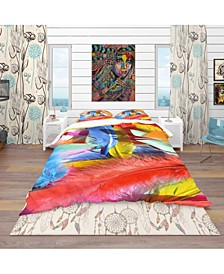 Designart 'Feathers Texture' Southwestern Duvet Cover Set - Queen