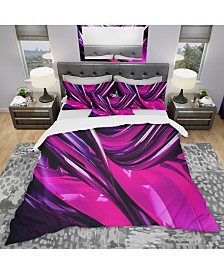 Designart 'Pink and Purple Ribbons' Modern and Contemporary Duvet Cover Set - Queen