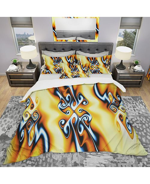 Design Art Designart 'Yellow Squiggles' Modern and Contemporary Duvet Cover Set - King